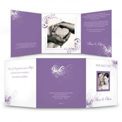 Save The Date Karte Zur Hochzeit In Lila Mit Schnorkeln Carinokarten