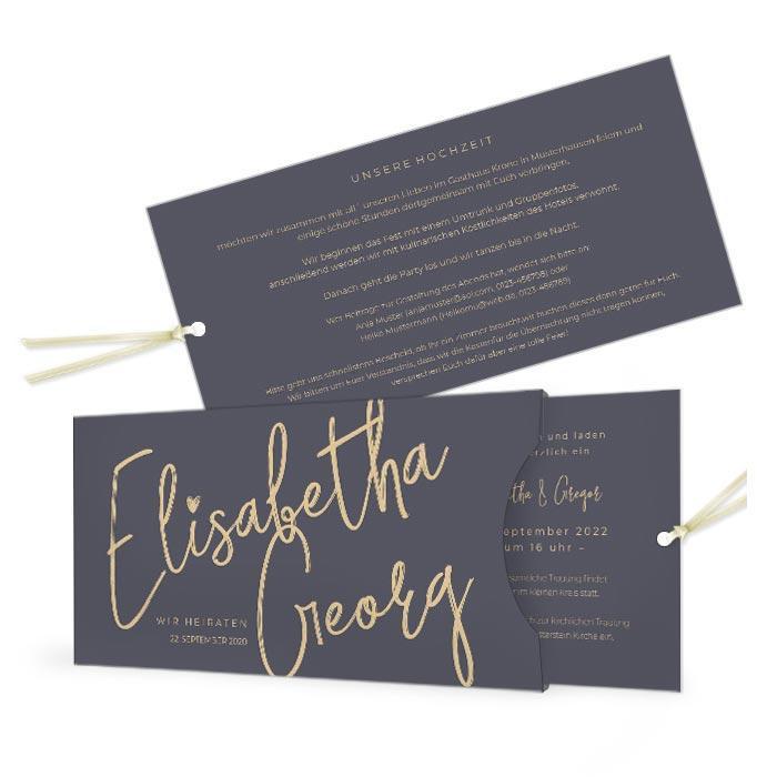 Hochzeitseinladung als Einsteckkarte mit Namen in Kalligraphieschrift
