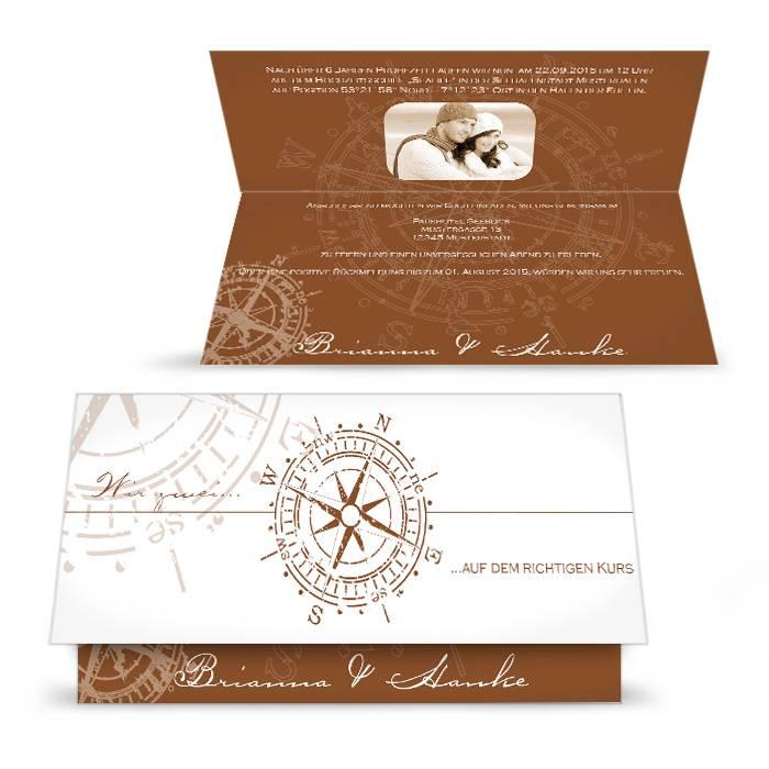 Maritime Einladung Zur Hochzeit Mit Antikem Kompass In Braun | Cariñokarten