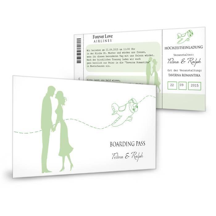 Einladungskarte Zur Hochzeit Als Flugticket Ticket To Love | Cariñokarten
