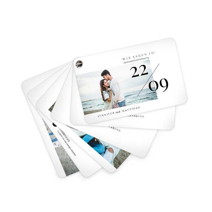 Hochzeitseinladung Kartenfächer mit Foto und Datum