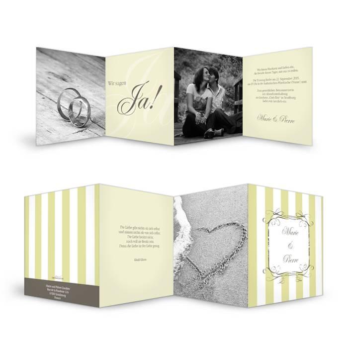 Hochzeits Einladungskarte Grün Marie und Pierre - Carinokarten.de