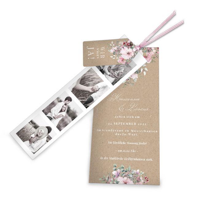 Hochzeitseinladung mit Fotostreifen in Kraftpapieroptik und mit Aquarellblumen