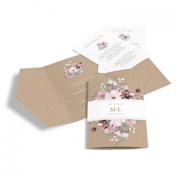 Hochzeitseinladung Pocket mit Banderole, Kraftpapieroptik und Aquarellblumen