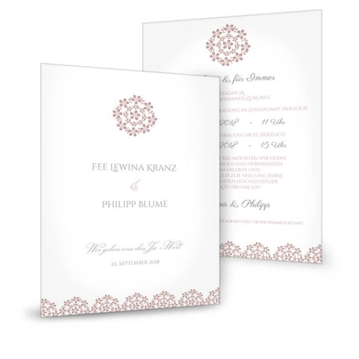 Hochzeitseinladung Als Postkarte Mit Blumenmuster In Rosa Carinokarten