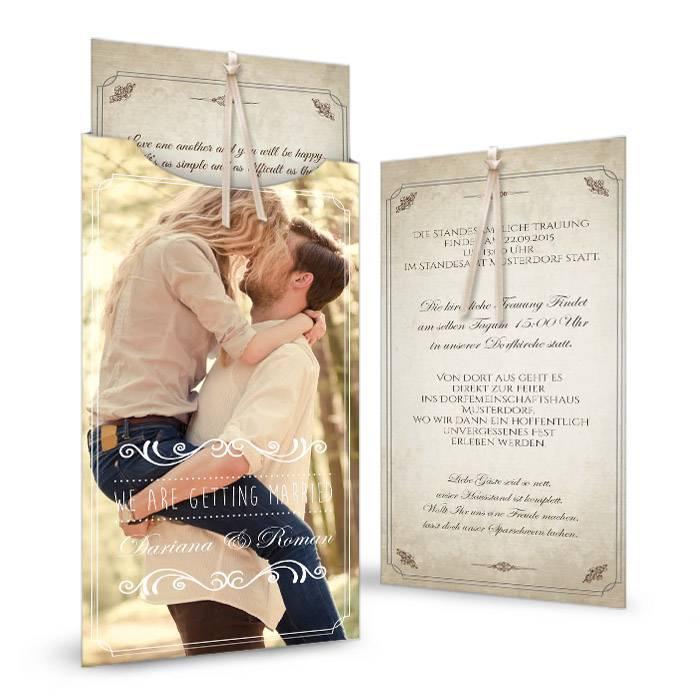 Einladung Zur Hochzeit Im Shabby Chic Look Als Einsteckkarte