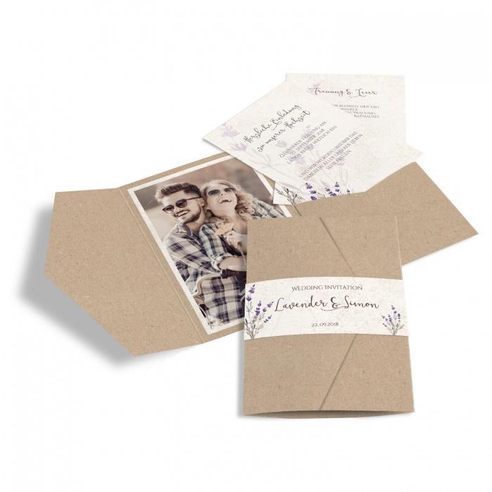 Hochzeitseinladung mit Lavendel im Kraftpapier Design