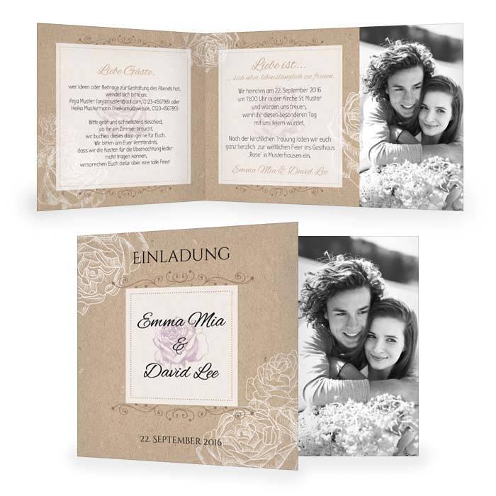 Einladung Zur Hochzeit In Kraftpapieroptik Mit Rosen In Weiß | Cariñokarten