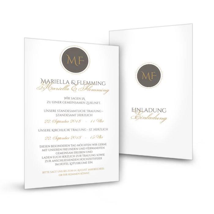 Schlichte Einladung Zur Hochzeit Mit Elegantem Monogramm Carinokarten
