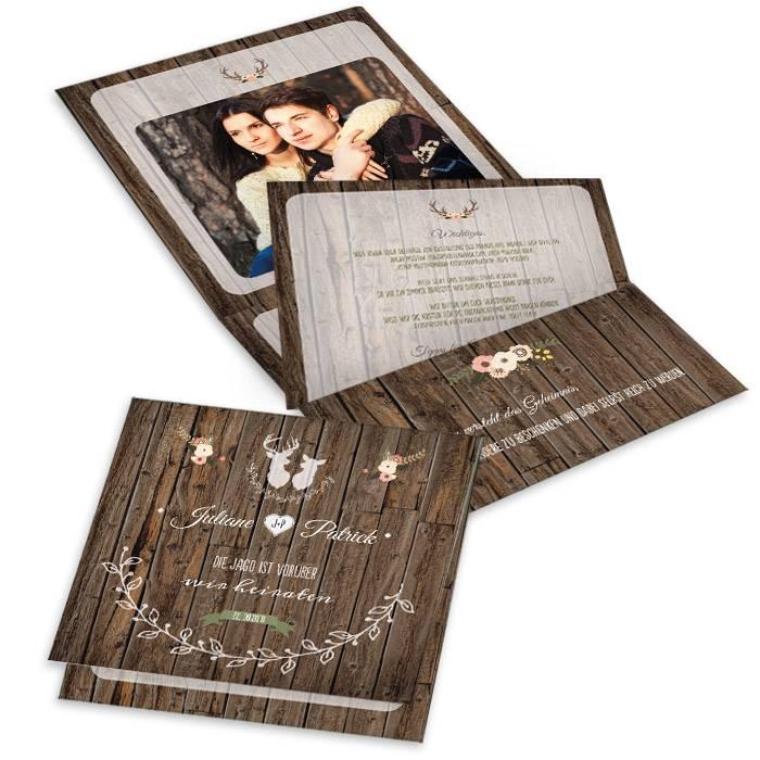Hochzeitseinladung für Jäger mit Jagdmotiv in Holzoptik