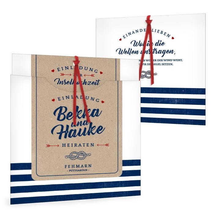Maritime Hochzeitseinladung Im Kraftpapier Stil Mit Streifen
