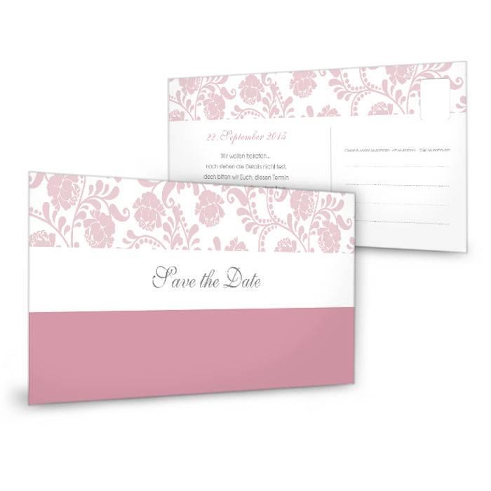 Florale Save The Date Karte Zur Hochzeit In Altrosa Carinokarten