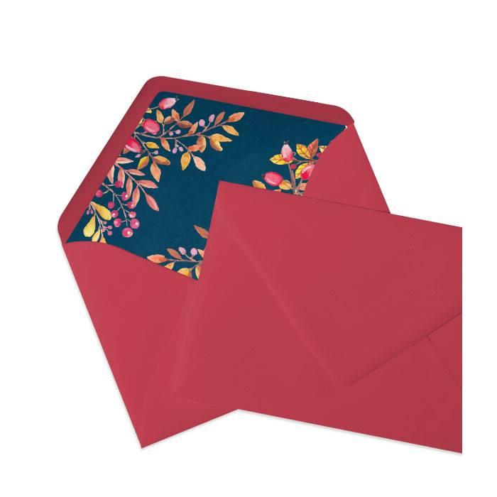 Roter Briefumschlag Mit Inlay In Blauem Herbstdesign Cariñokarten