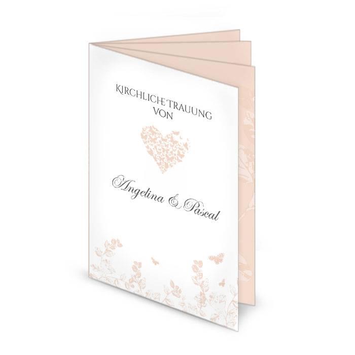 Kirchenheft Zur Hochzeit Mit Herz Und Schmetterlingen Carinokarten