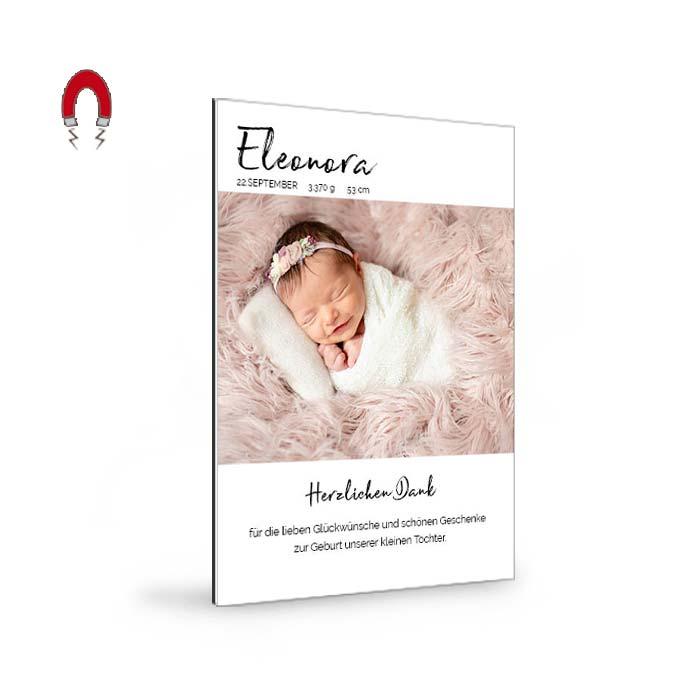 Eine dauerhafte Erinnerung: Magnet Babykarte mit Foto und Text