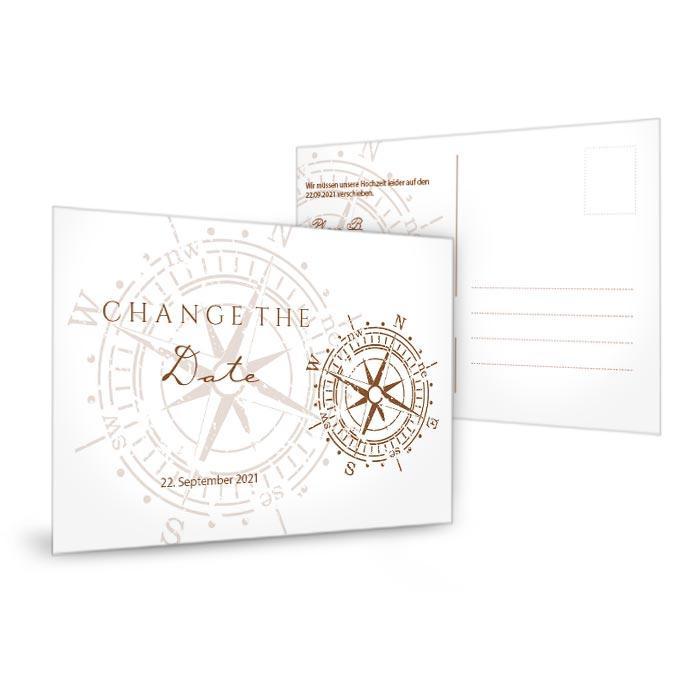 Maritime Change the Date Karte mit Vintage Kompass in Braun