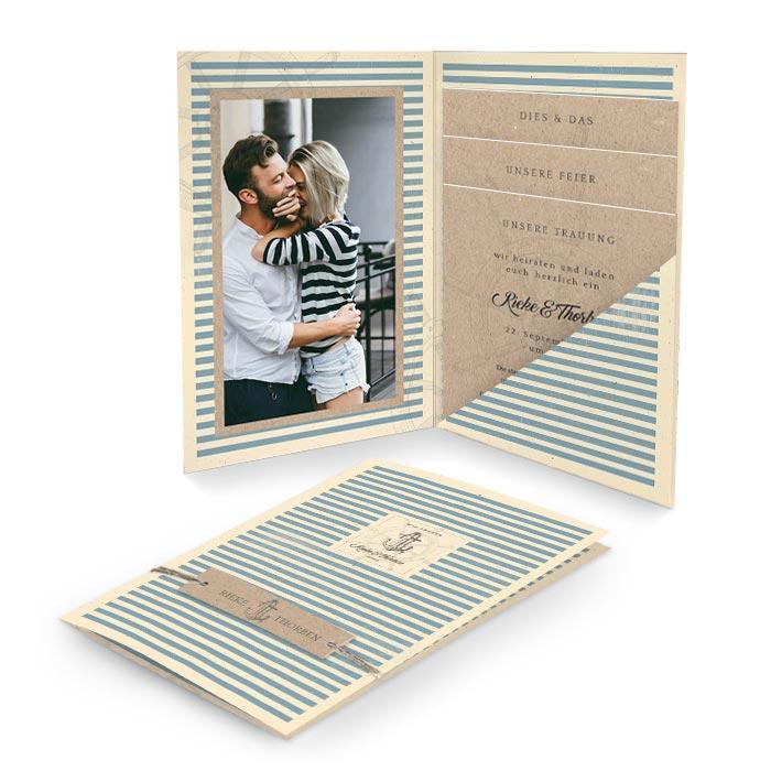 Maritime Hochzeitseinladung Pocket mit Anker und Kraftpapier