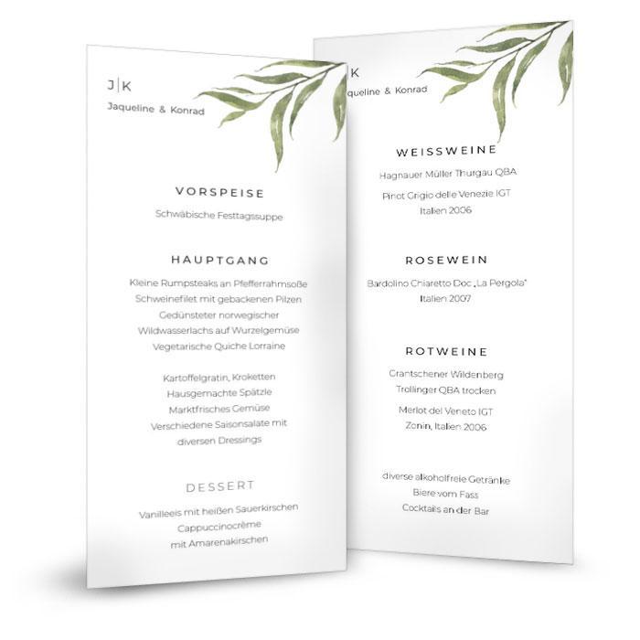 Menükarte für Ihre Hochzeitstafel mit gemalten Aquarellzweig