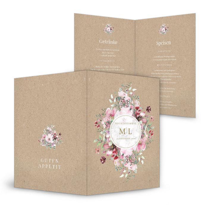 Menuekarte zur Landhochzeit mit Aquarellblumen und Kraftpapieroptik