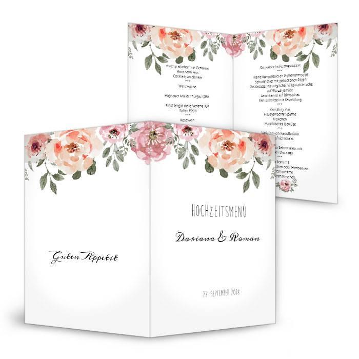 Vintage Menukarte Zur Hochzeit Mit Blumen Im Aquarelldesign
