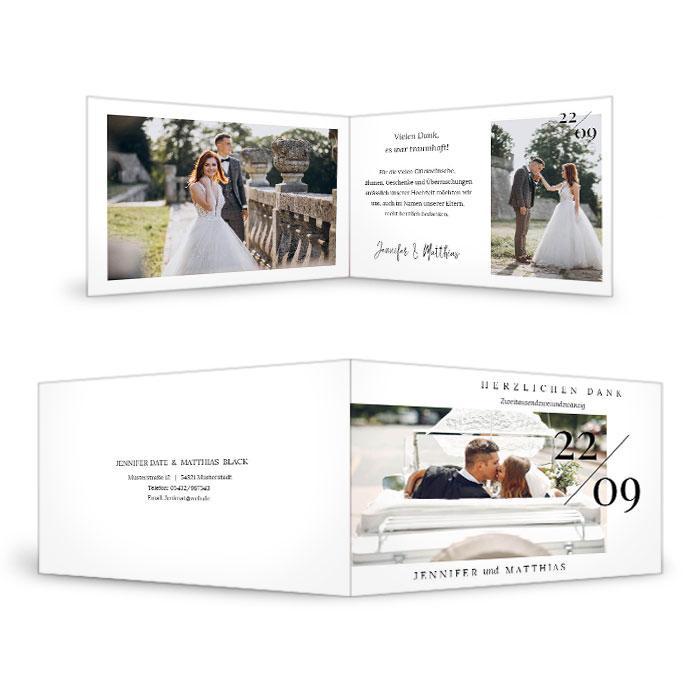 Minimalistische Hochzeitsdanksagungen für Ihre schönsten Fotos