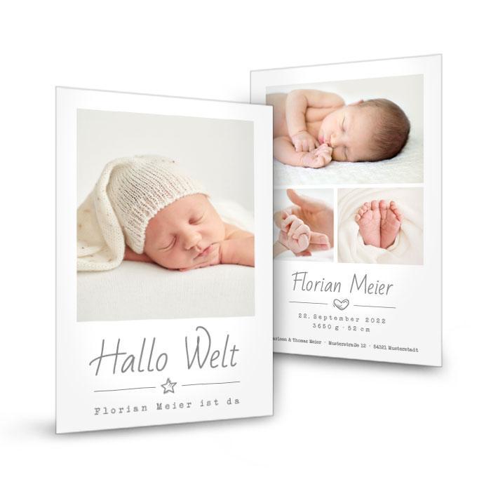 Minimalistische Geburtskarte mit vielen Fotos