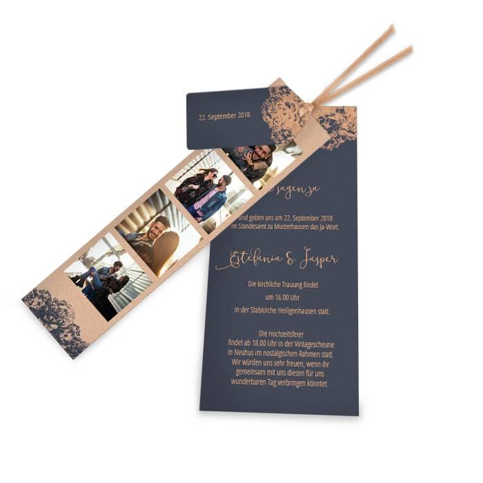 Hochzeitseinladung In Blau Und Kupfer Mit Fotostreifen Carinokarten
