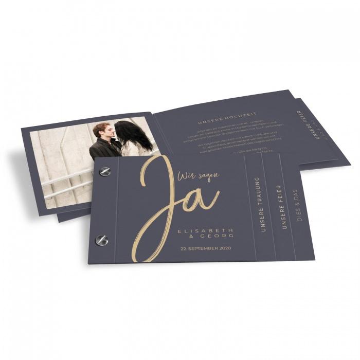 Moderne Hochzeitseinladung als Booklet mit Kalligraphieschrift in Grau