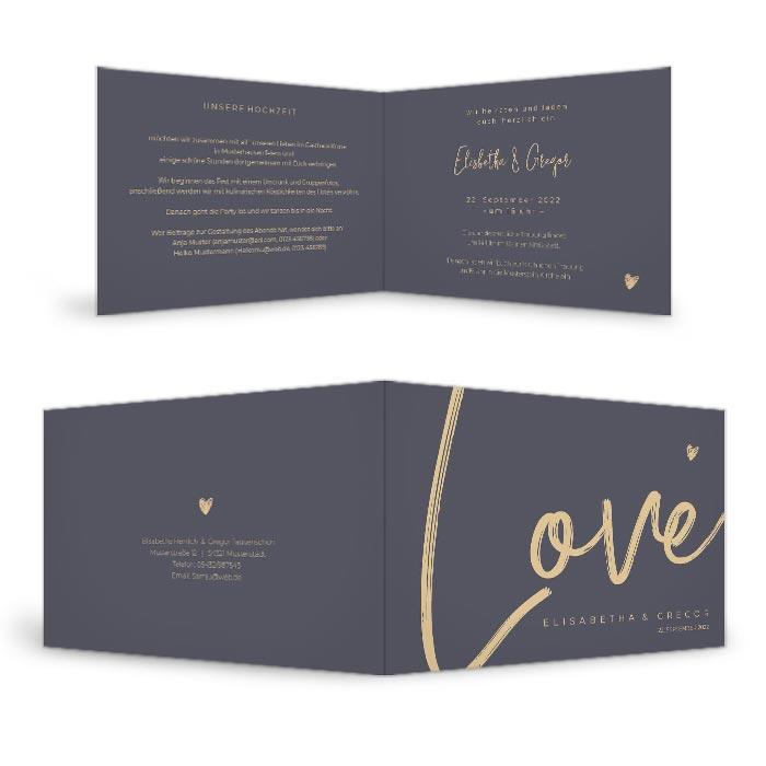 Moderne Hochzeitseinladung mit Love Schriftzug in Blaugrau