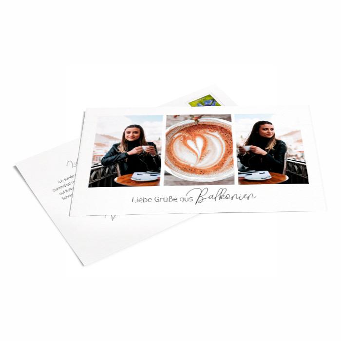 Postkarte mit Grüßen aus Balkonien - online gestalten - weltweiter Versand - PORTO INKLUS