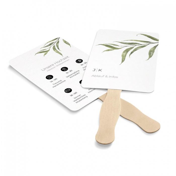 Programmfächer für Ihre Hochzeit mit greenery Zweig