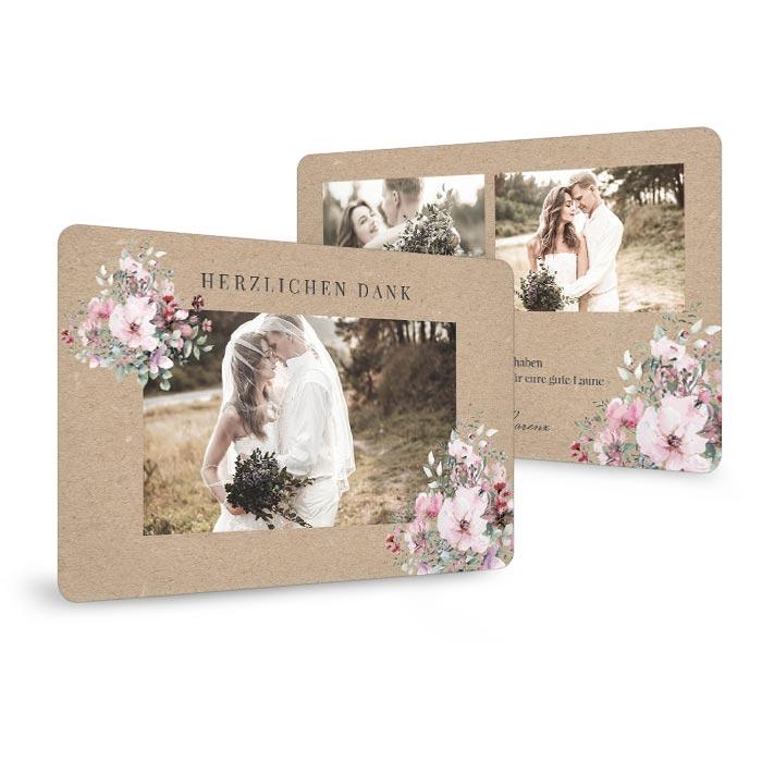 Romantische Danksagung zur Hochzeit in Kraftpapieroptik mit Aquarellblumen