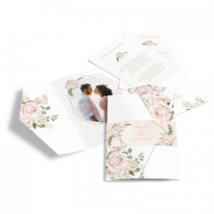 Romantische Hochzeitseinladung als Pocket mit Aquarellblumen in Rosa