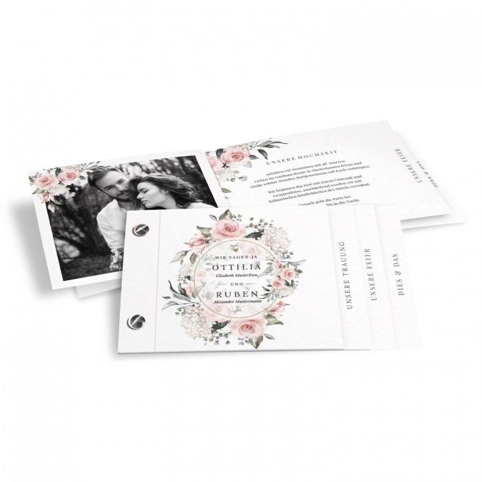 Romantische Hochzeitseinladung mit Aquarellrosen im Booklet Format