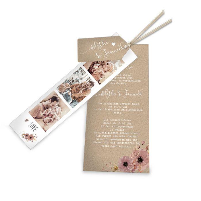 Florale Hochzeitseinladung in Kraftpapieroptik im Design Blythe und Jannick von carinokarten