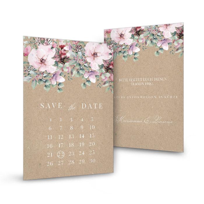 Save the Date Karte in Kraftpapieroptik mit Aquarellblumen und Eukalyptus
