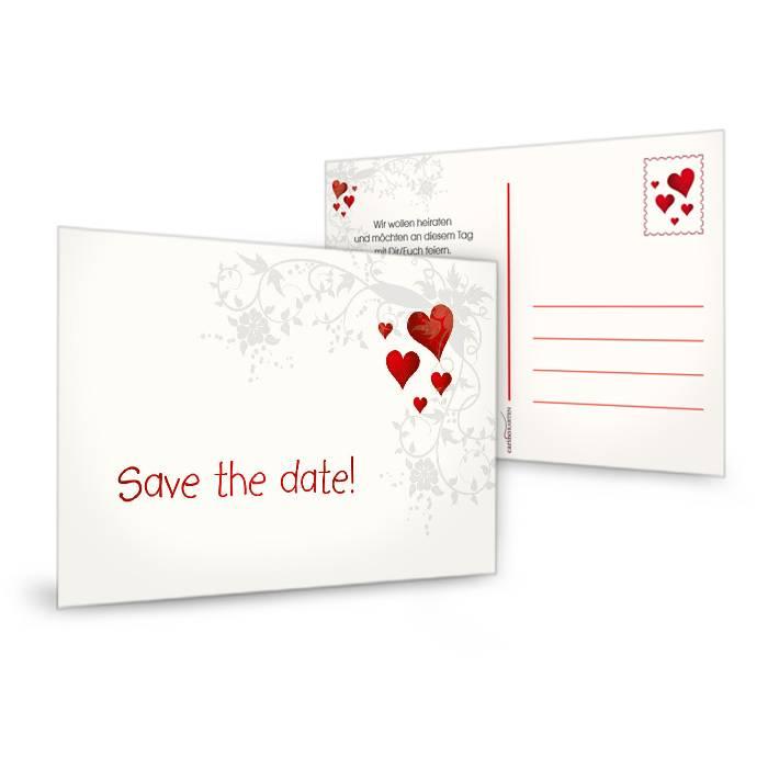 save the date karte mit blumenranke und roten herzen. Black Bedroom Furniture Sets. Home Design Ideas