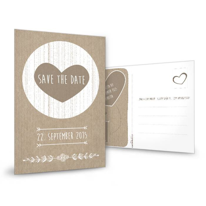 vintage save the date karte mit herz in packpapier optik cari okarten. Black Bedroom Furniture Sets. Home Design Ideas