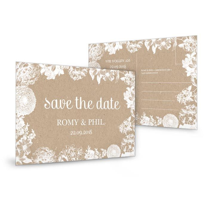 save the date karte zur hochzeit im kraftpapierstil mit blumen cari okarten. Black Bedroom Furniture Sets. Home Design Ideas