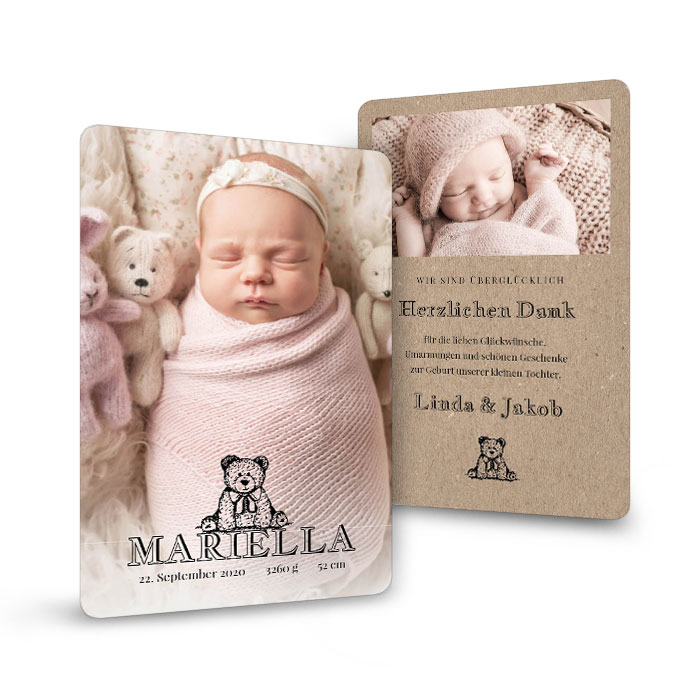 Süße Babykarte mit Teddy und großen Foto