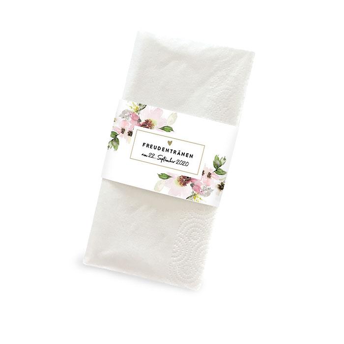 Taschentuchbanderole mit hübschen Aquarellblumen in Lila