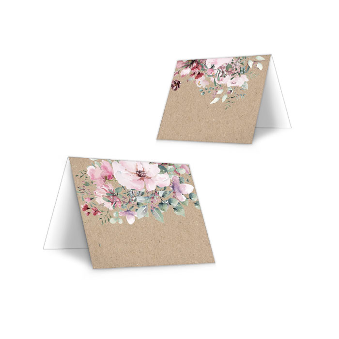 Tischkarte für Ihre Landhochzeit in Kraftpapieroptik und Aquarellblumen - zum Beschriften
