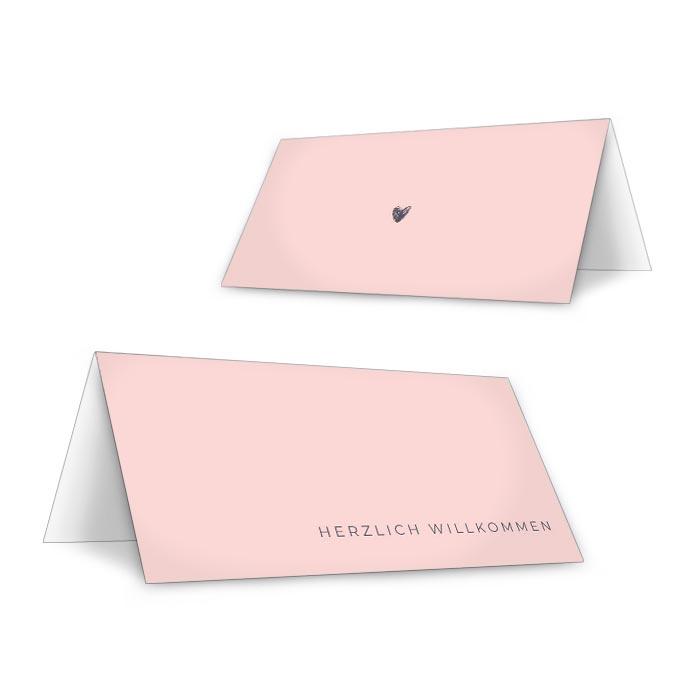 Tischkarte mit Kalligraphieschrift zum beschriften in Rosa