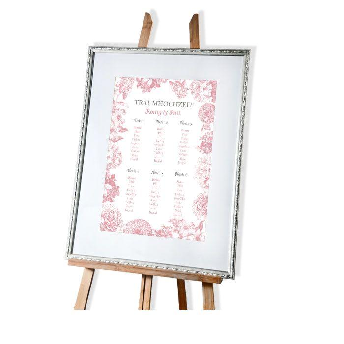 Vintage Tischplan Zur Hochzeit Mit Blumen Rosa Und Weiss Carinokarten