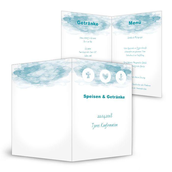Menükarte zur Konfirmation und Kommunion in Watercolor blau ...