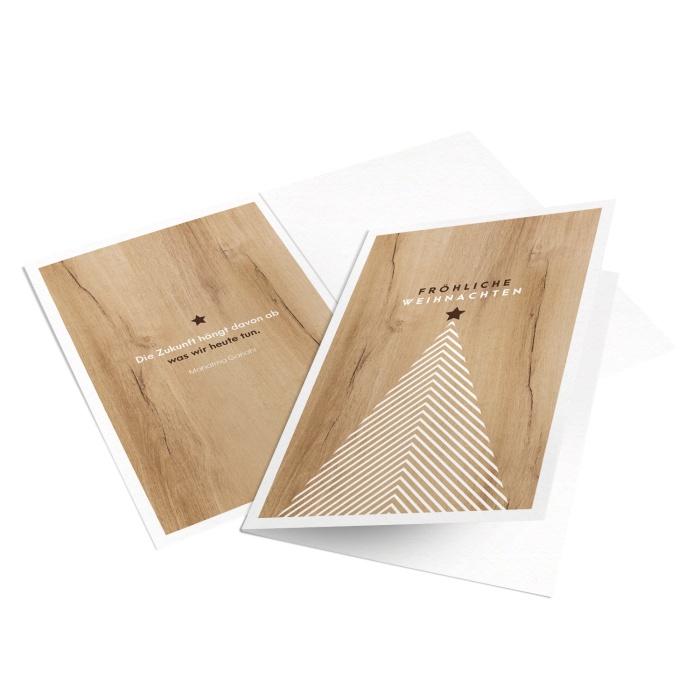 Weihnachtsgrußkarte für Tischler und Parkettleger in Holzoptik