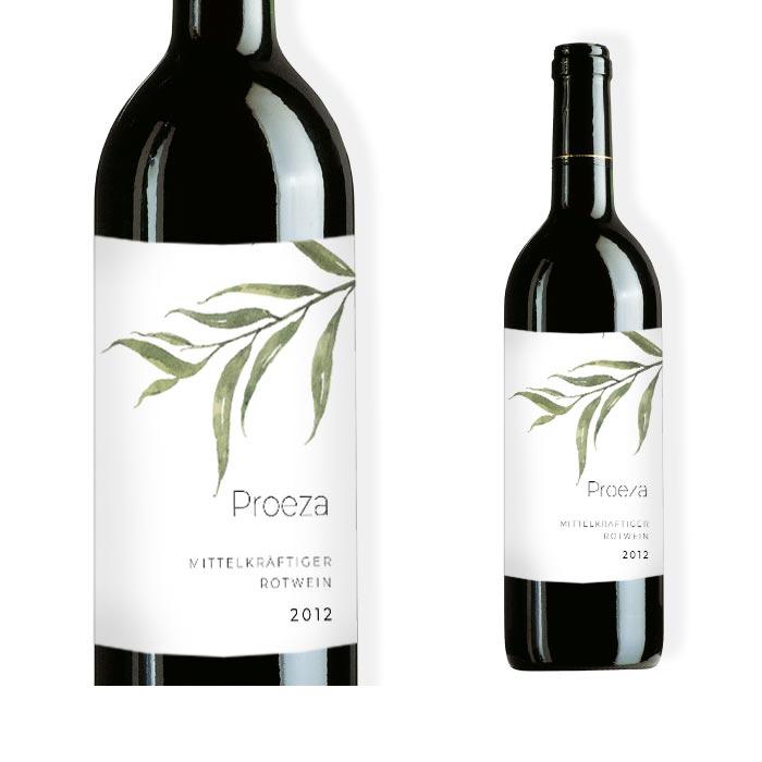 Weinflaschenetikett mit greenery Aquarellzweig