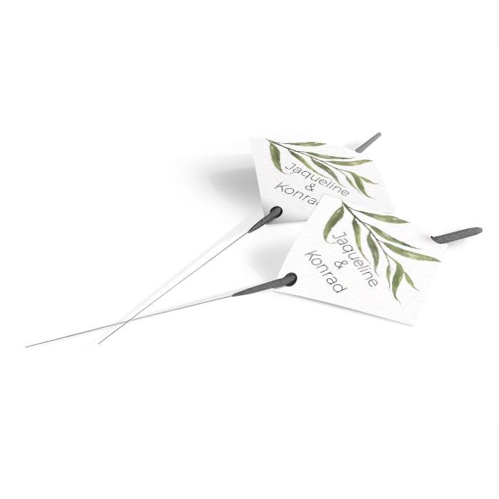 Wunderkerzen Anhänger zur Hochzeit mit greenery Aquarellzweig