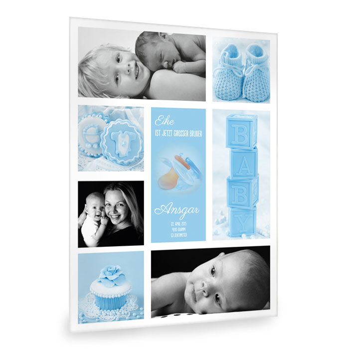 moderne baby fotocollage in hellblau mit vielen fotos cari okarten. Black Bedroom Furniture Sets. Home Design Ideas
