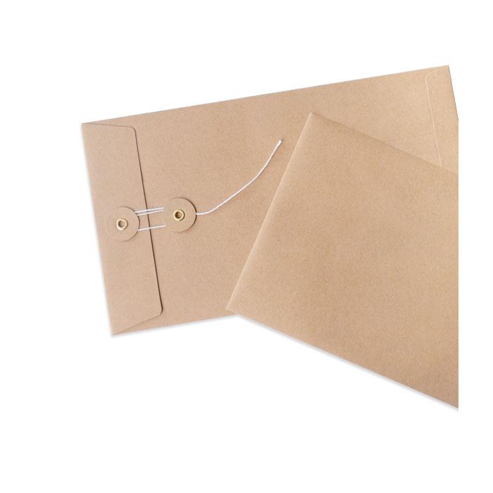 Kordelumschlag Kraftpapieroptik (220 x 110 mm)